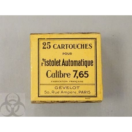 Boite Gevelot 7.65 Browning  - 25 cartouches 32 ACP